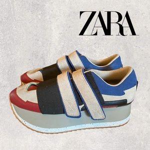Zara Woman Platform Grey Blue Velcro Sneakers 40 9
